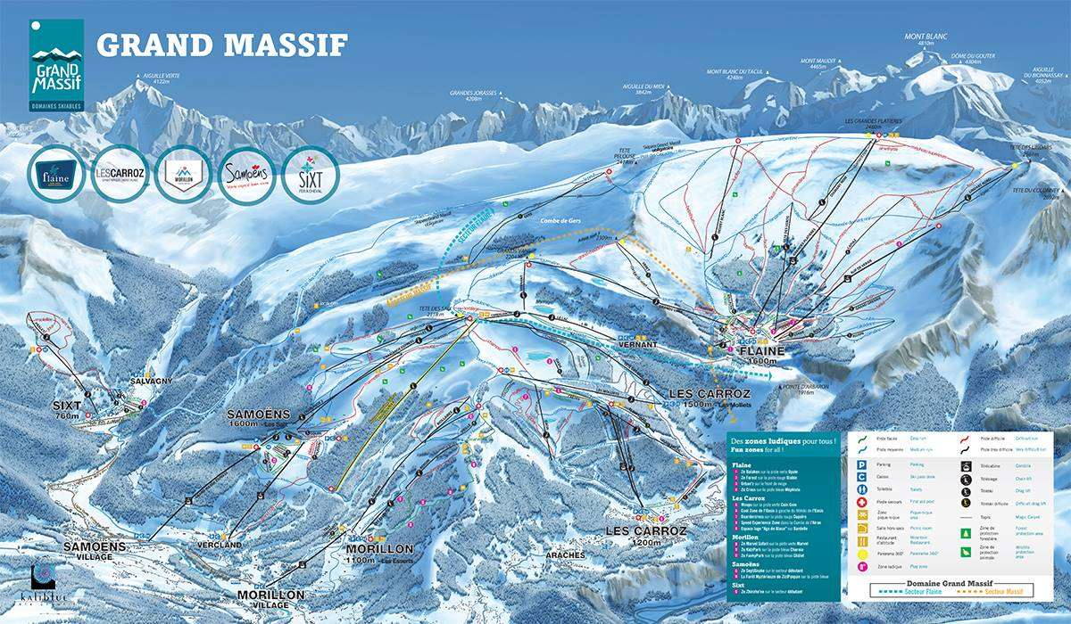 Grand Massif ski area piste map