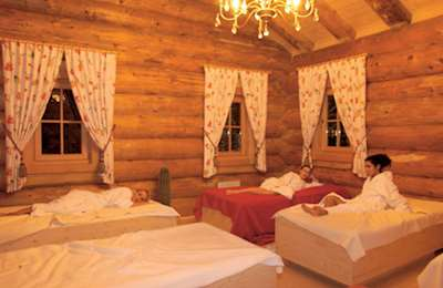 Log-cabin relaxation room