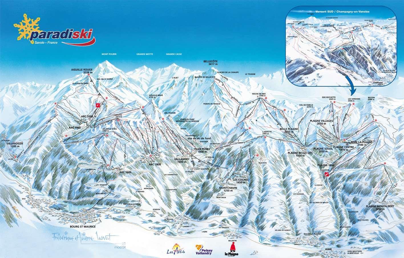 La Plagne Piste Map La Plagne Ski Area Map Igluski Com