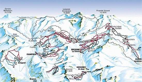 Gressoney piste map