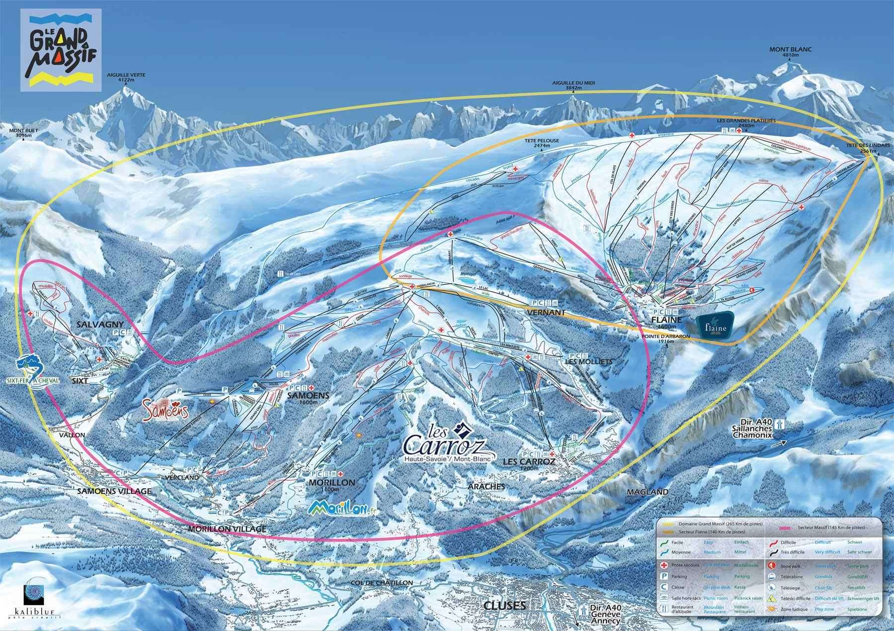 Les Carroz d'Arraches piste map