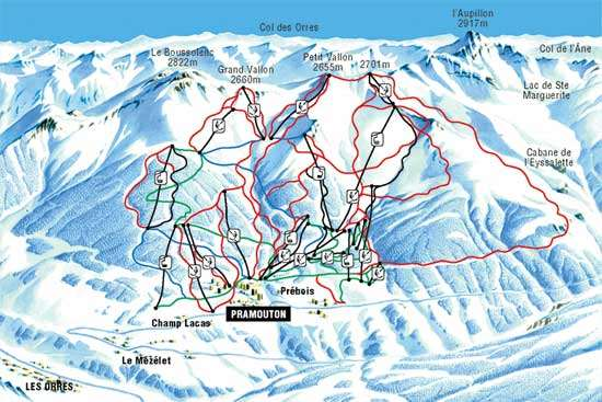 Les Orres piste map