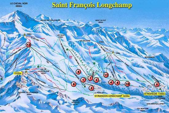 Saint-Francois Longchamp piste map
