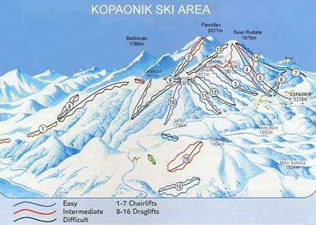 Kopaonik piste map