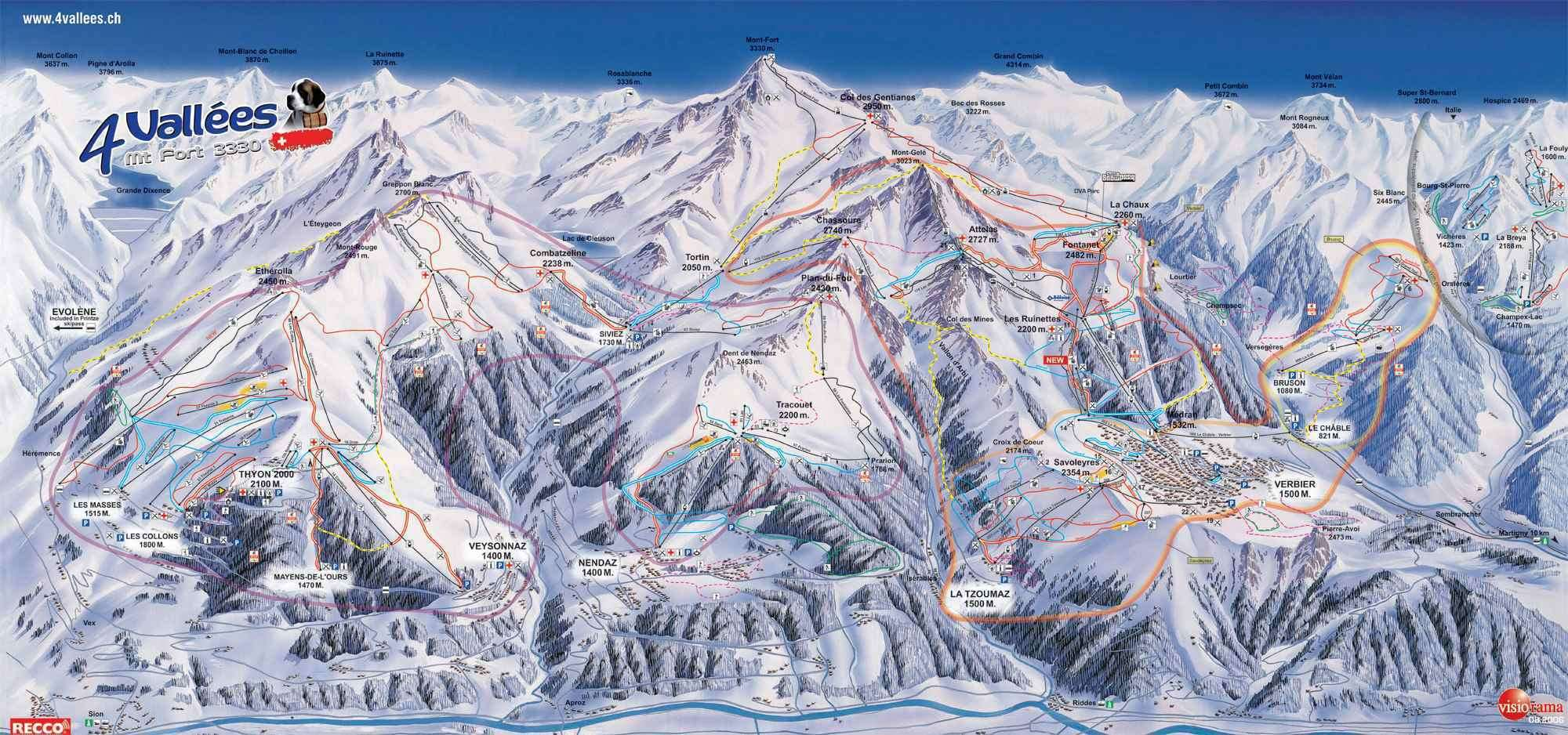 Verbier 4 Valleys Piste Map