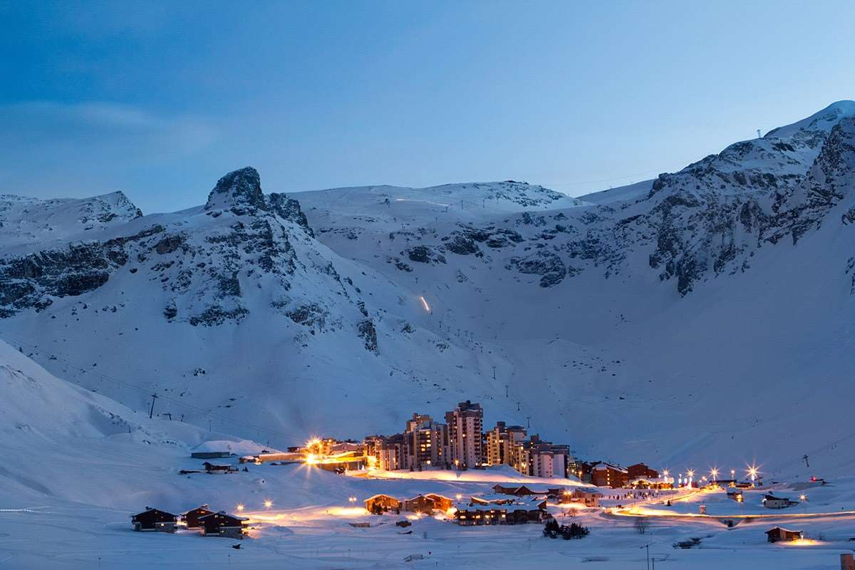 Tignes Val Claret village at night