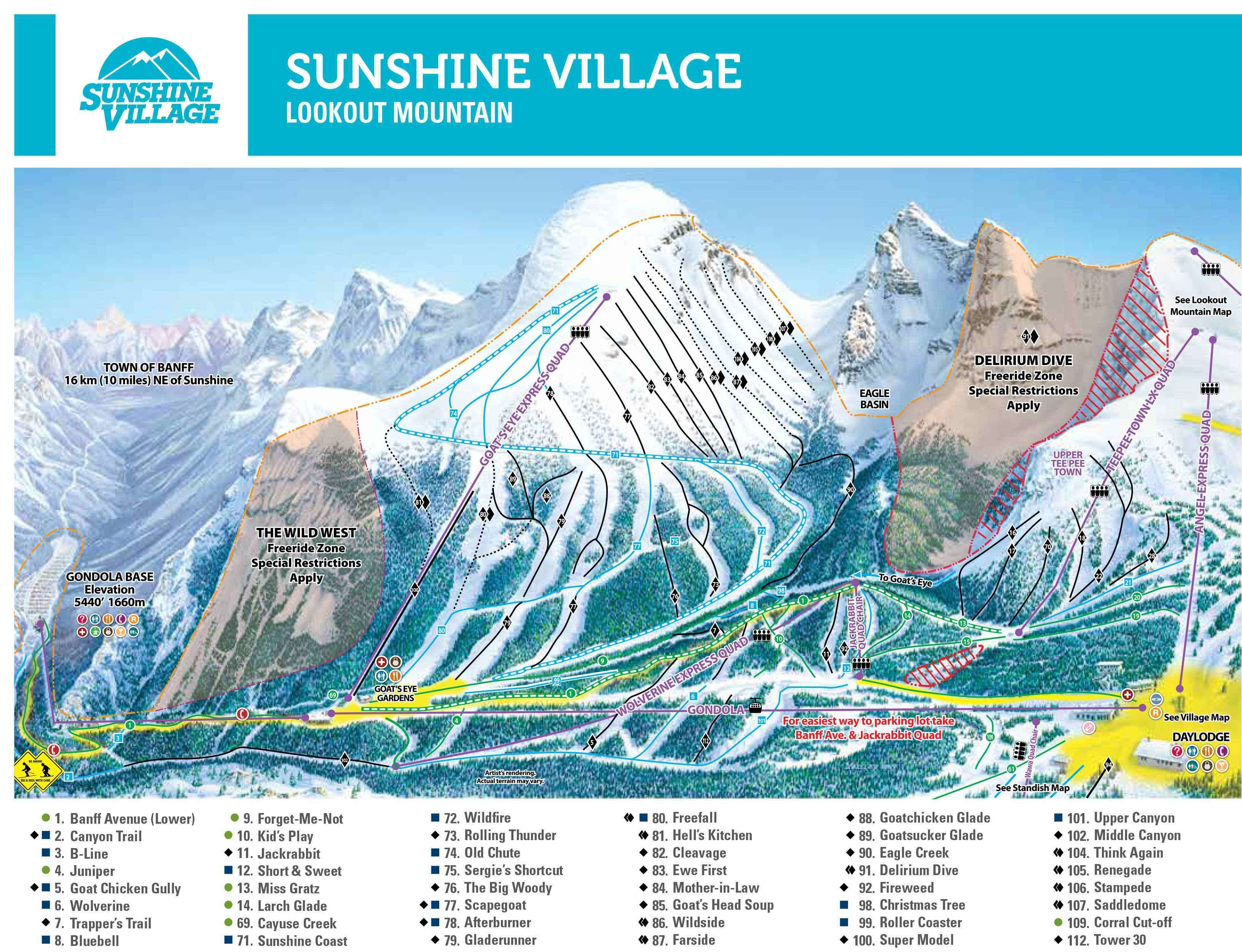 Sunshine Village Piste Map