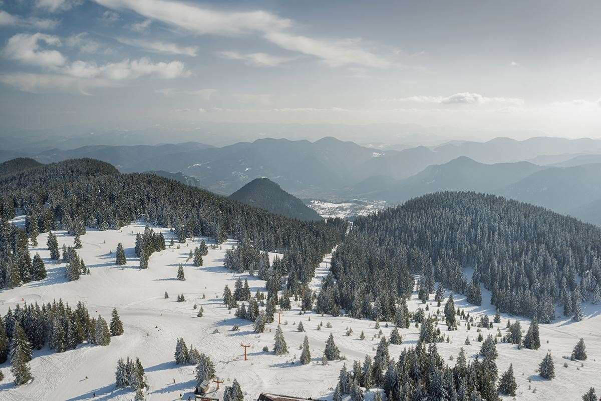 Skiing in Pamporovo, Bulgaria