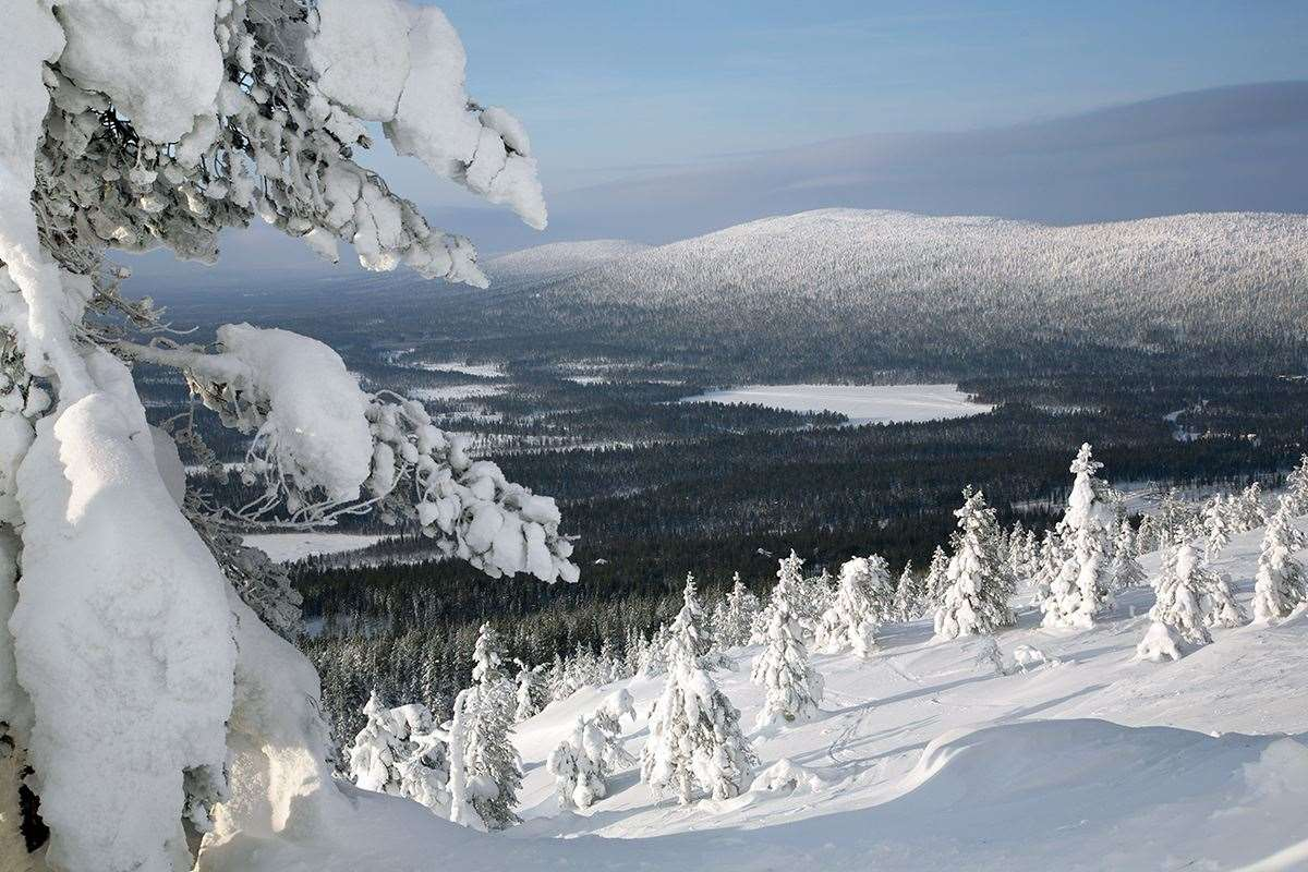 Skiing and snowboarding in Levi ski resort in Finland