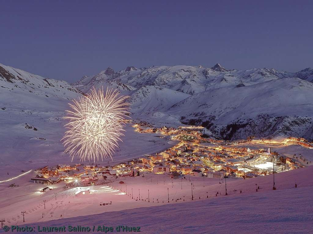 Fireworks at night in Alpe d'Huez