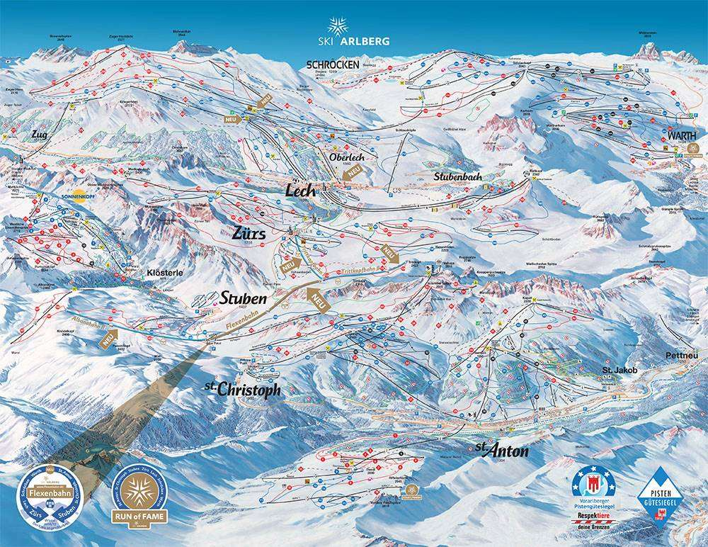 Stuben piste map