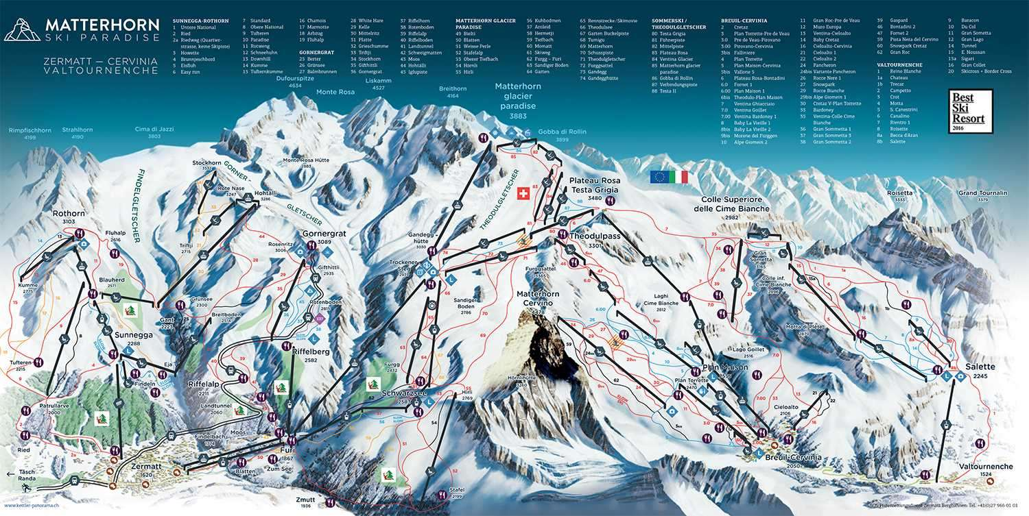Cervinia and Zermatt piste map