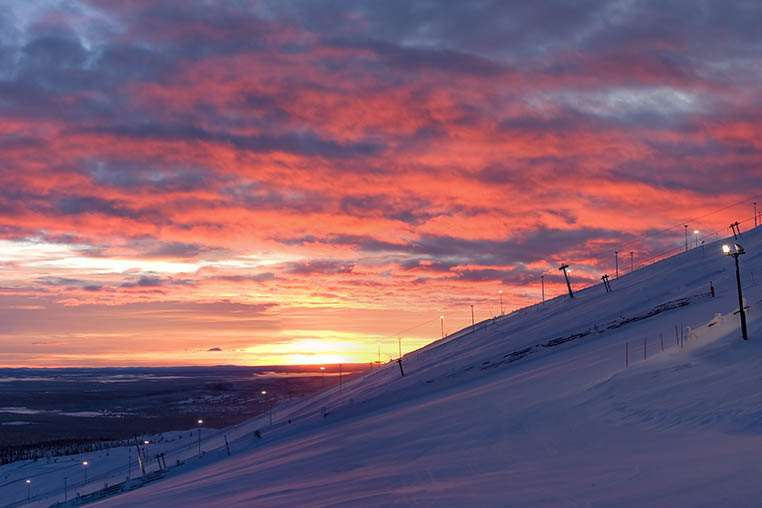 Yllas skiing sunset