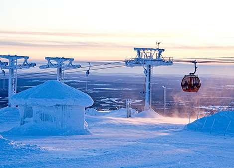Skiing in Yllas, Finland